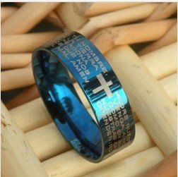 Classic Titanium Steel Rings Bible Cross Pattern Ring Never Fade Color No Allergy Blue Hot Sales 25pcs/lot