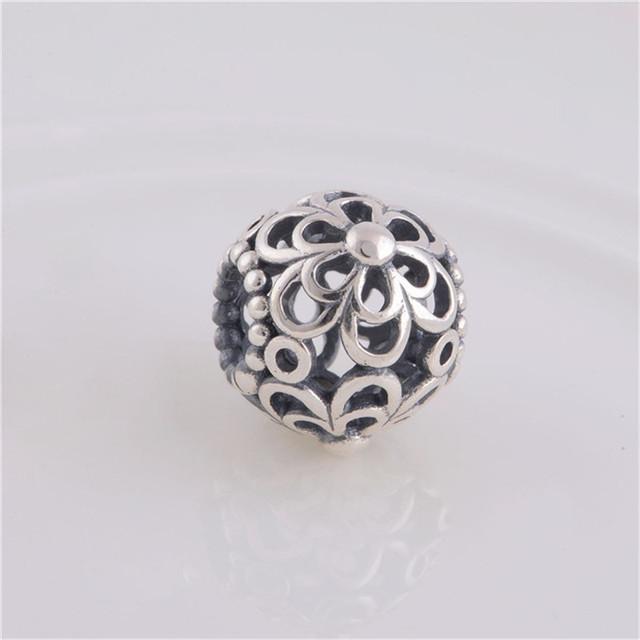 Аутентичные 925 серебряные ювелирные изделия полые цветок бал бусины , пригодный для бандуры браслет женщины DIY мода ювелирных изделий