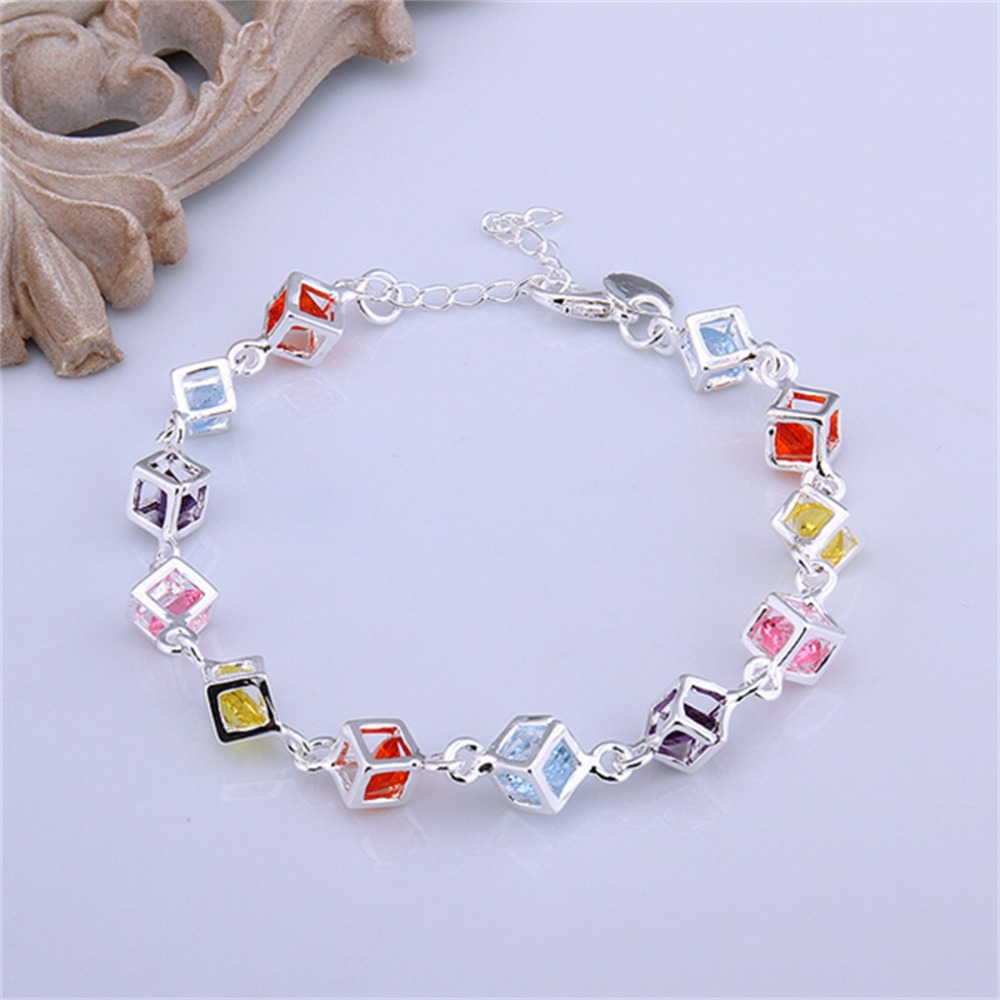Women Girls Silver Plating Charm Cube Colorful Crystal Chain Bracelet Bangle Hot Selling(China (Mainland))