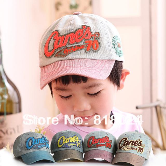 Надписи дети бейсболки, Мальчики-младенцы девочки винтажный деним кепка, Дети весна лето на открытом воздухе солнца шляпа