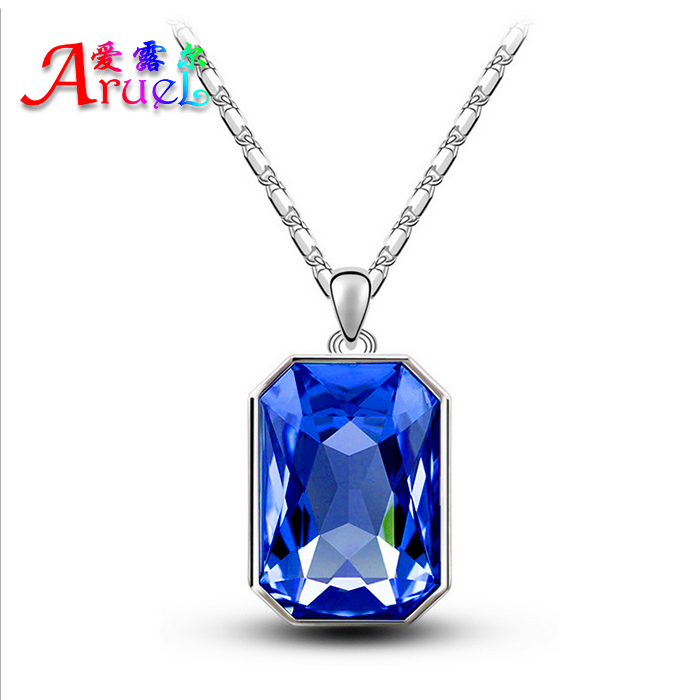 2015 fashion jewelry Accessories platinum plated square necklace sale luxury blue Austiran Crystal Pendant Necklaces Women Gift(China (Mainland))