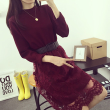 New Spring Women Lace Print Dress Long Sleeve O Neck Slim Waist Dresses Elegant Party Dress with Sashes(China (Mainland))