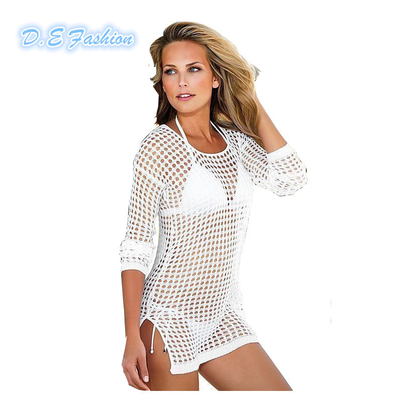 Sexy Beach Cover Up Fashion Hollow Summer Crochet Beach Dress Womens Long Sleeve Lace White Bathing Suit Cover Ups Swimsuit(China (Mainland))