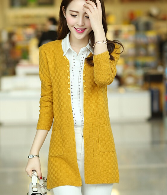Women Winter Clothes Fashion Cardigans Long And Full Solid Cute Plus Size Rose Yellow Dark Blue Red Black Beige Open Stitch(China (Mainland))
