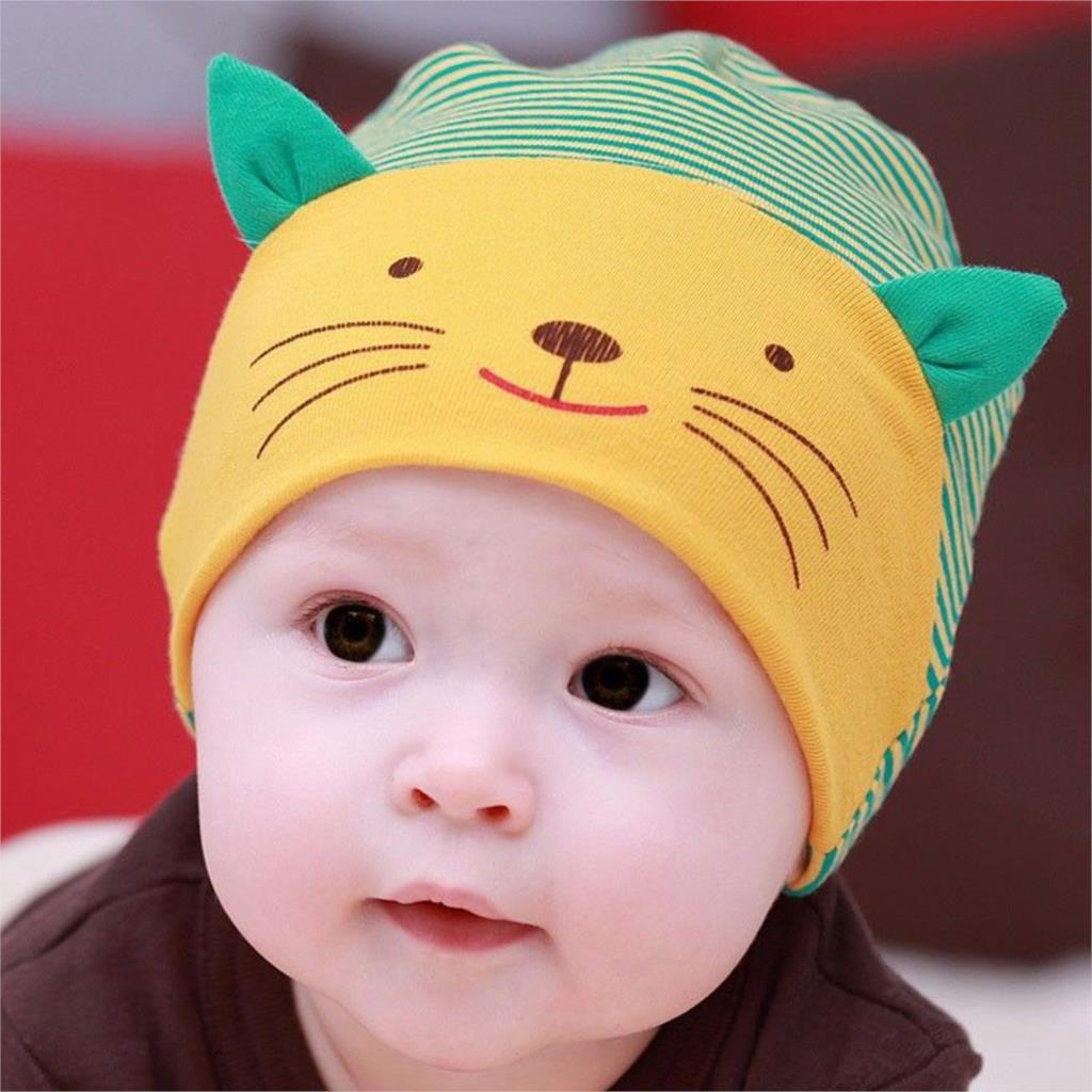 Baby hat autumn winter baby beanie warm cartoon cat cotton infant