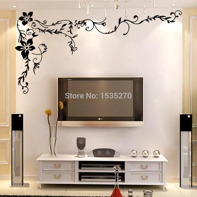 Замечательный вьющиеся ветки цветов стена наклейки для для дома телевизор фон стена искусство 8461 своими руками черный красивый узор дизайн