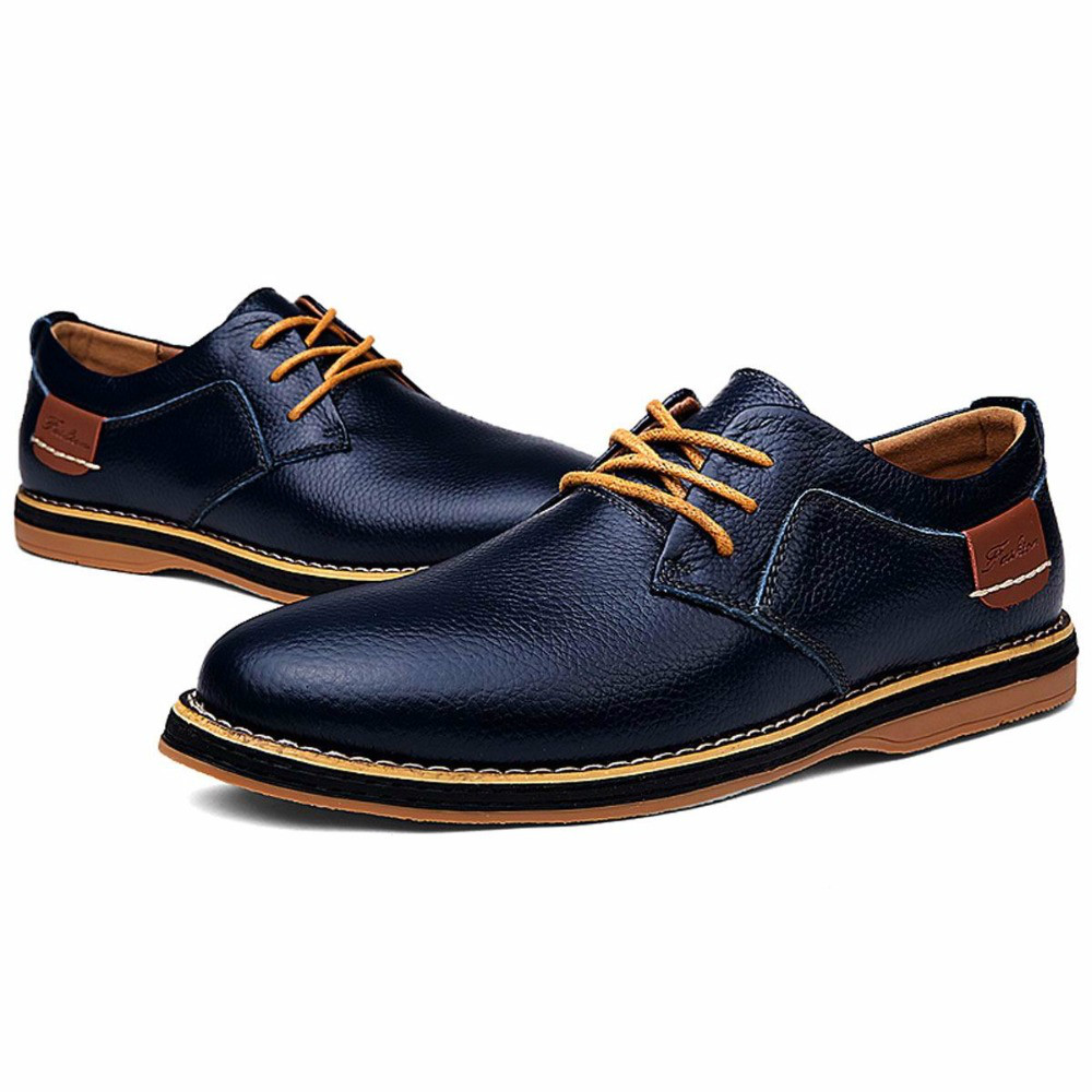 Hand Made Genuine Full Grain Leather Casual Oxfords Shoes Men Flats High Quality Noble Elegant Institute British Style Lace Up(China (Mainland))