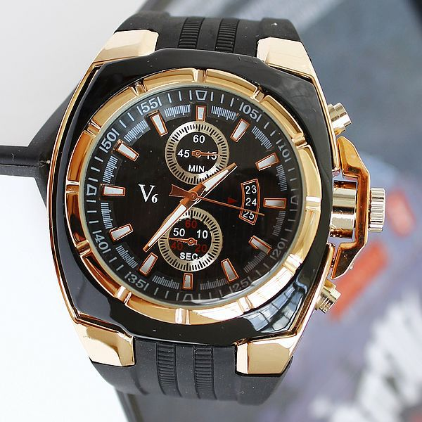 2015 Direct Selling Relojes Fashion Movement - V6 Brand Watches Male Sports Large Dial Quartz Silicon Wristwatches Free Shipping(China (Mainland))