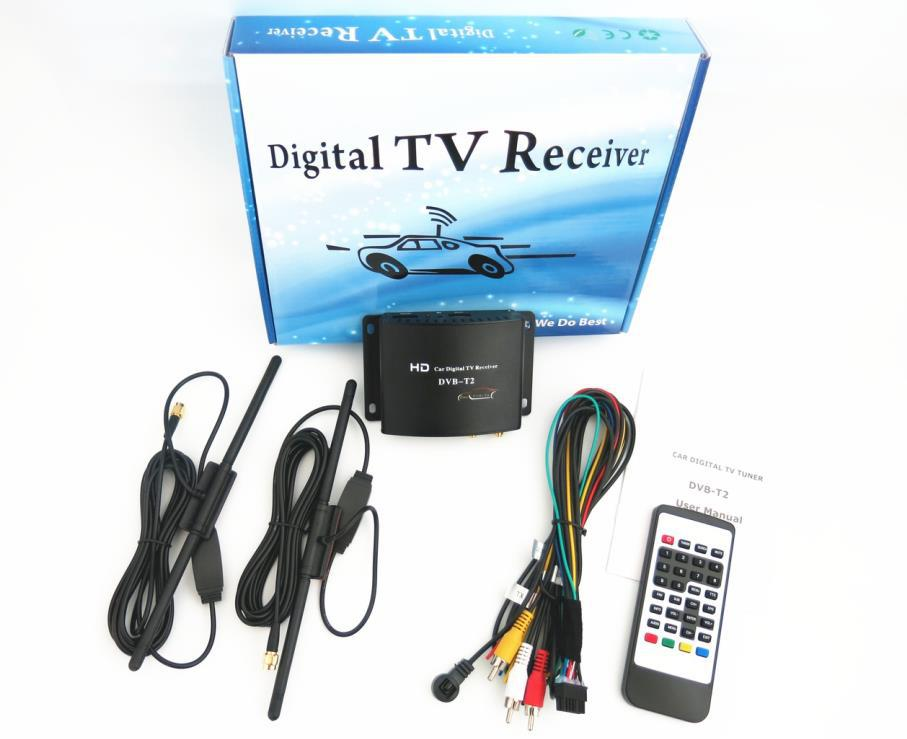 Factory price car dvb t2 digital tv receiver tuner box with dual tuner car dvb-t2 speed up to 180km/h Free shipping by DHL(China (Mainland))