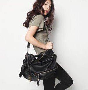 100% real cow genuine leather Hollywood Style tassel rivet big large black zipper shoulder crossbody hobo slouch bag,punk women