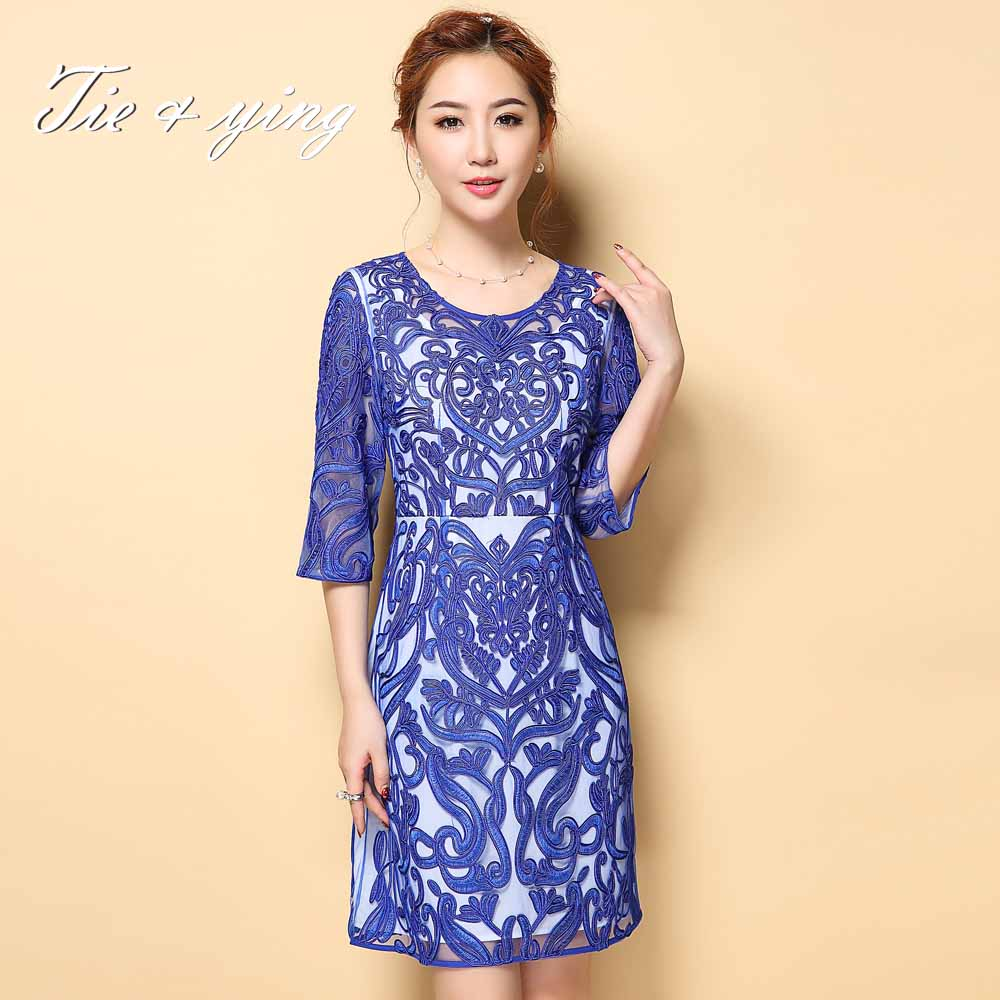 Elegant dress midi 2016 summer European runway vintage royal chiffon knee length plus size slim ethnic embroidered dress M-4XL(China (Mainland))