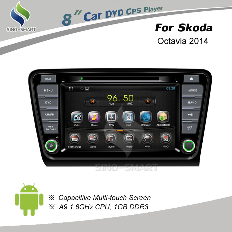 8 inch Android 4.4 car DVD GPS navigation for Skoda Octavia 2014 Supports 3G modem, USB DVR, OBD, mirror link with phone(Hong Kong)