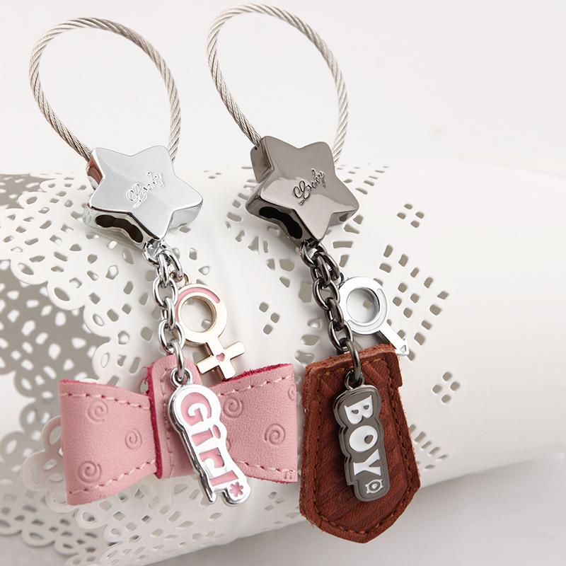 MILESI Brand Leather Couple Keychain Original Design, Pair Lovely Boy Girl Bow Tie Keyring Handbag Pendant Gift for Lover EW047(China (Mainland))