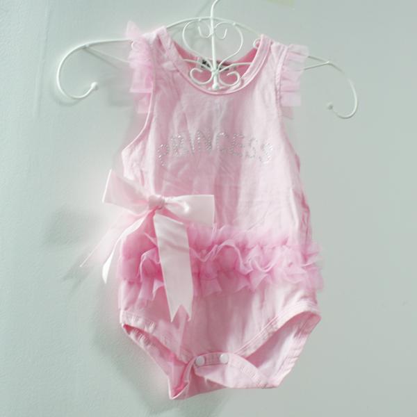 2014 Baby Kids Bodysuit Girls Pink Flower Princess Bodysuits 0-24M Drop Shipping Free Shipping(China (Mainland))