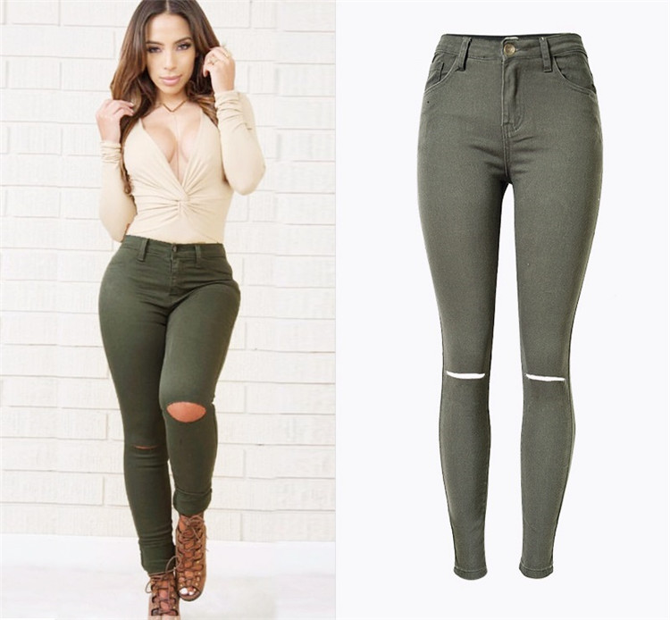Women's High-Waisted Khaki Skinny Knee-Ripped Cotton Jeans