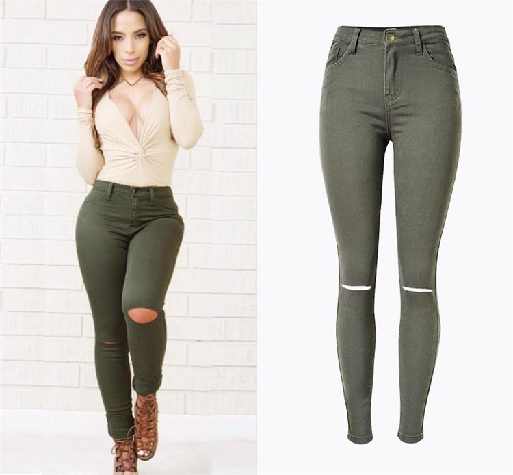 2017 Wholesale New Fashion Ladies Armee Verte Slim Jeans Dechires ...