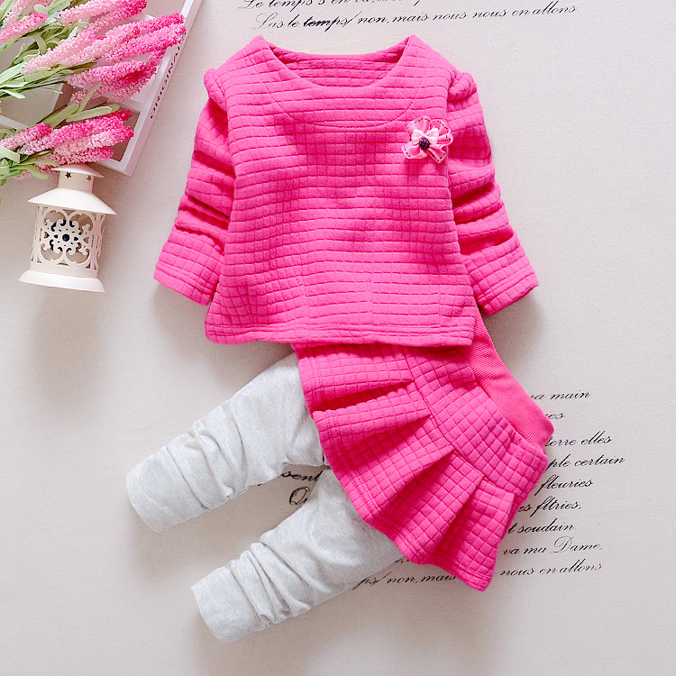 spring 2016 kids clothes for girls fashion flower girls clothes children clothes o neck sweetshirt + skirts pant two-piece set<br><br>Aliexpress