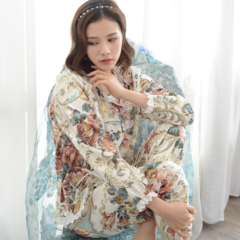 Global Shipping Spring and Autumn New Arrival Women Pajamas 100% Cotton Long-Sleeve Summer Sleepwear Rustic Lounge Set(China (Mainland))