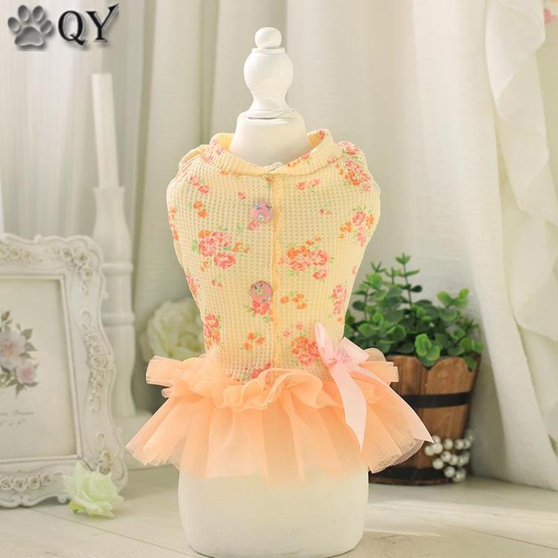 QY Pet Products 2016 100% Cotton Clothing For Dogs Pet Puppy Cat Rose Flower Lace Bow Cute Dog Dress Dog Clothes Orange XS-XL(China (Mainland))