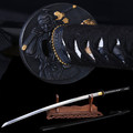home decor katana The newly designed black scabbard Damascus steel forging Sharpe Knife Samurai Figure Ngok