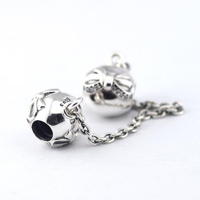 925 серебряные ювелирные изделия бусины дэнити с бантом цепи безопасности с камнями бусины Fit подвески пандора браслет DIY мода ювелирных изделий серебро 925