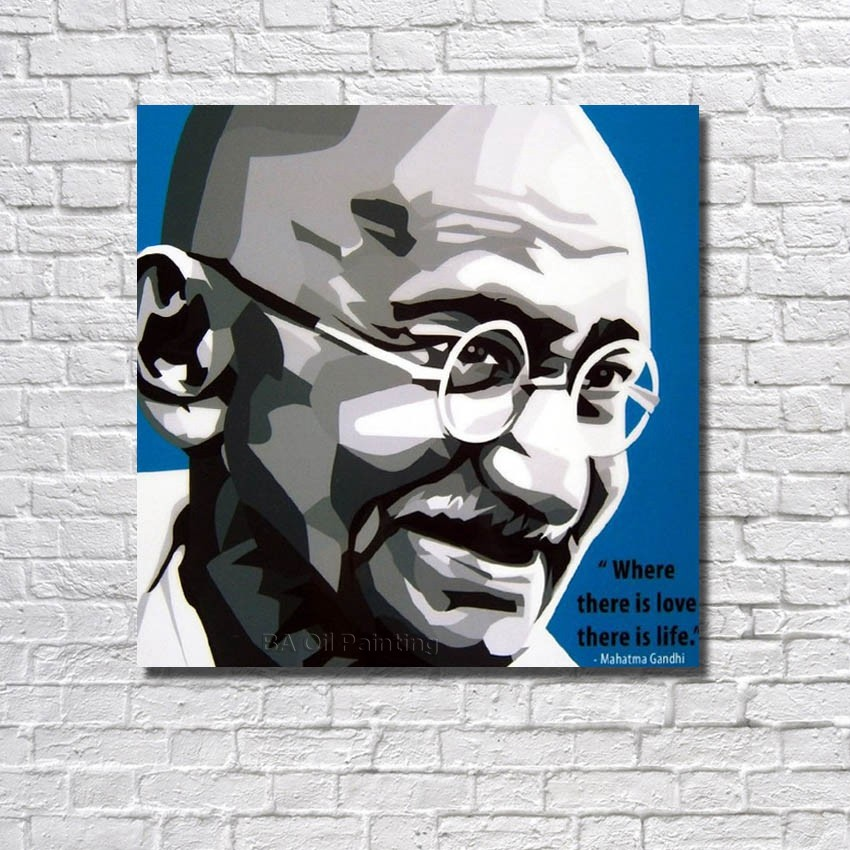 Abstract Wall Art Home Decoration Mahatma Gandhi Oil Painting Framed Handmade Modern Abstract Canvas Oil Painting Rw386