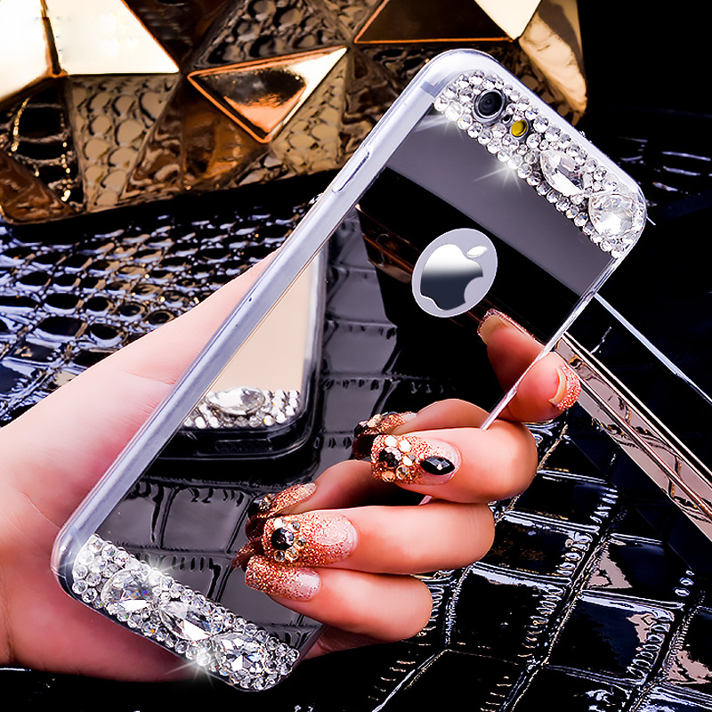 i5/i6/Plus Luxury Mirror Cover Fashion Ultra Thin Bling Crystal Diamond Phone Case For iPhone 5 5S/6 6S/6 6S Plus Women Fashion(China (Mainland))