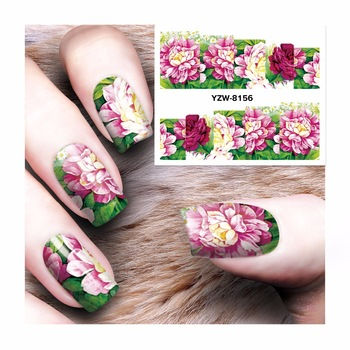 WUF 1 Sheet Flower Design Water Transfer Nail Art Sticker Kids Decals DIY Decoration For Beauty Nail Tools 8156