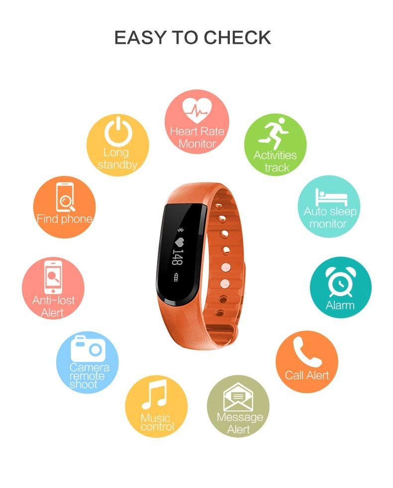 LANVEIN ID101 Smart Bracelet BT4.0 Heart Rate Monitor Smartband Pulse Sports Fitness Activity Tracker Wristband For Android IOS