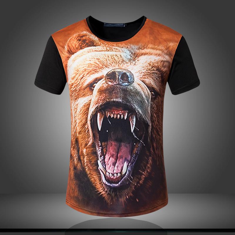 summer style 3D t shirt men Innovative Animals Bear T Shirt of the O-Neck casual Short sleeve Printed shirt(China (Mainland))