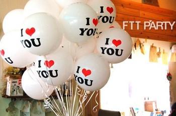 "100pcs/lots Free shipping 12 inch Mylar balloons, heart balloons print ""I love you"", Wedding decorations"