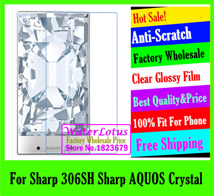 Clear Glossy mobile protective LCD film to phone screen protector de pantalla projector film For Sharp 306SH Sharp AQUOS Crystal(China (Mainland))