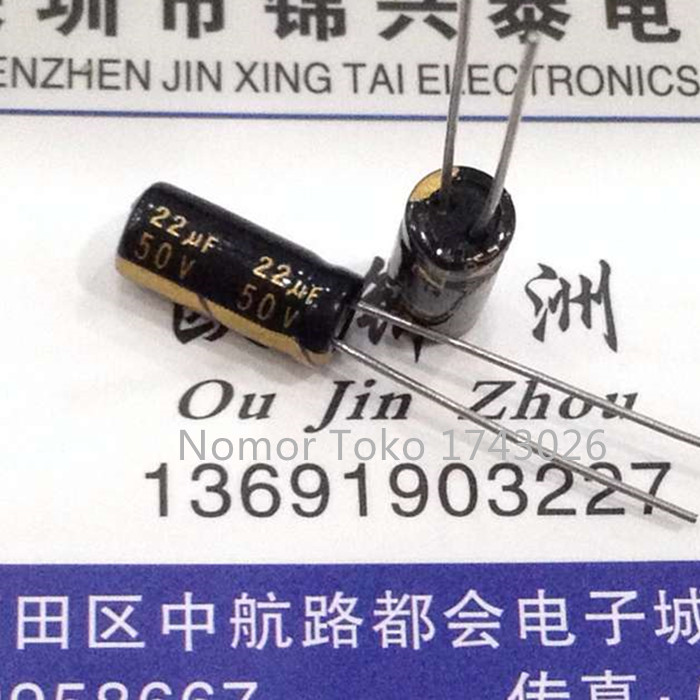 Pengiriman gratis 100 pcs/lot 50 V 22 UF 5*11mm 5mmX11mm Aluminum electrolytic capacitor ic(China (Mainland))