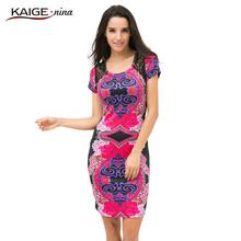 Kaige.Nina Autumn Sexy O-Neck Lace Dress Women Vestidos Casual Knee-length Dress Short Sleeve Print Plus Size Slim Dress 2409(China (Mainland))