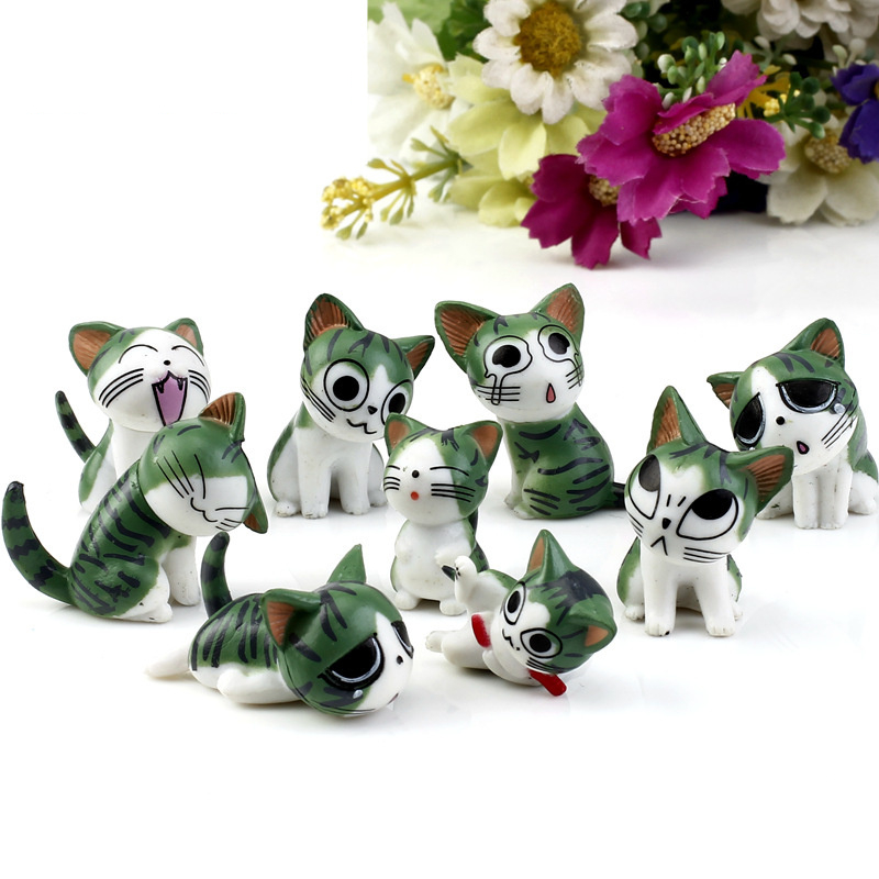 (9pcs/lot) Cheese cat miniature figurines toys cute lovely Model Kids Toys 1.5-3cm Japanese anime children figure world. PY055(China (Mainland))