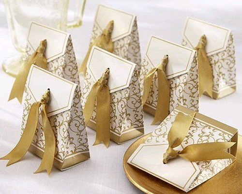 Wholesale - 200pcs Ribbon Included Wedding Favor Candy Boxes Silver and Gold Wedding Party Gift Box 2 Colors(China (Mainland))