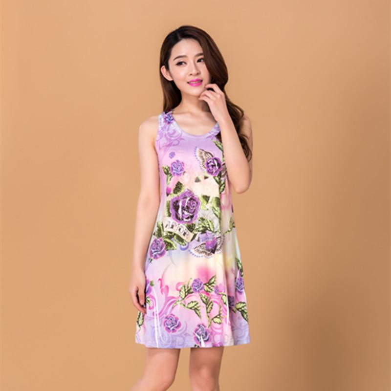 Dresses Vestido Round Neck Vest Dress Hollow Diamond Slim Printing Vest Dress Women Clothing Finished printed dress hot drilling(China (Mainland))