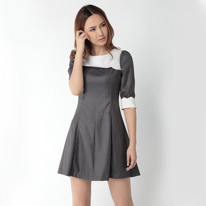 2015 summer elegant dress big large size 3Xl Gray patchwork white Novelty O neck half sleeve Vestiodos quality fabrics(China (Mainland))
