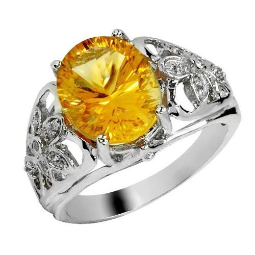 Qi Xuan_Natural Citrine Elegant Rings_Finger Rings_S925 Sliver plated Real 18KPG Gold_Manufacturer Directly Sales<br><br>Aliexpress