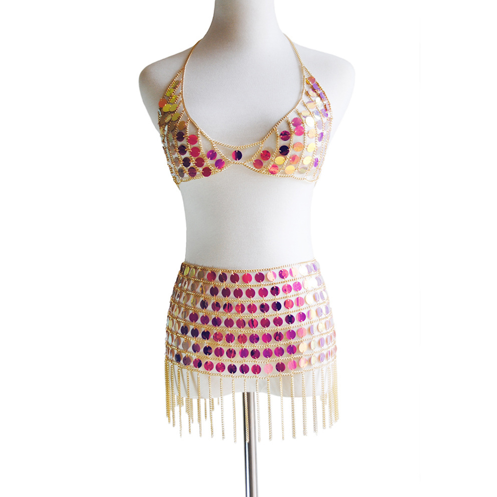 Belly Dance Hollow Sequins Chains Bra Mini Skirt Costume for Nightclub Party Belly Dance