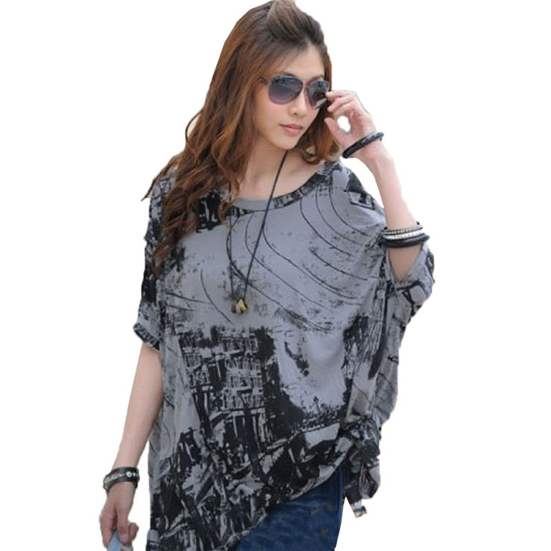 Summer Women Casual City Hunter Print Tops 2015 Female Irregular Bawting Sleeve Loose Fashion T-Shirts Free Size 2 Colors Одежда и ак�е��уары<br><br><br>Aliexpress