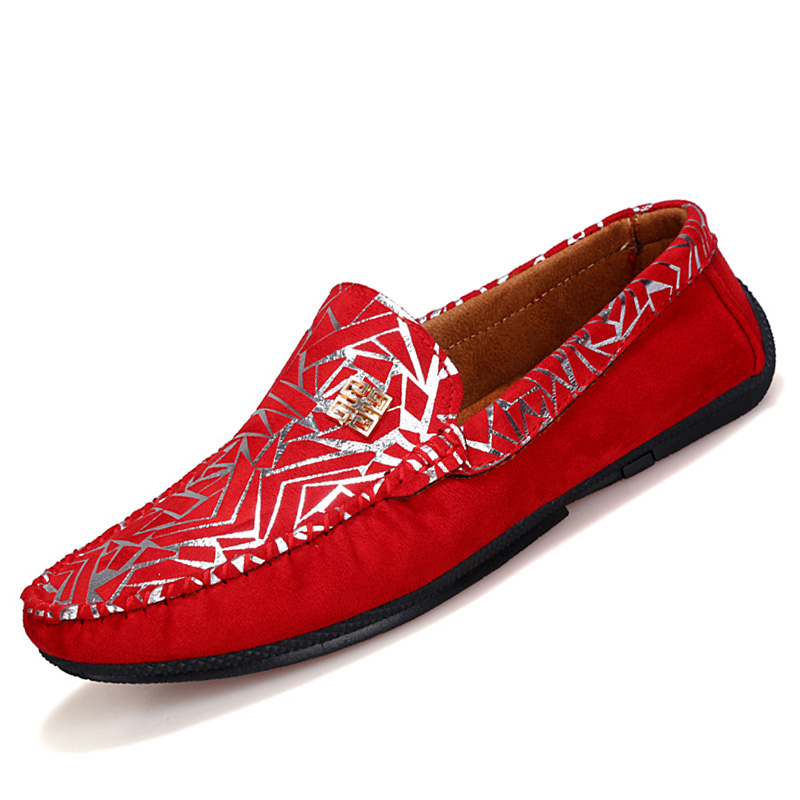 British trend suede loafers Paisley nubuck leather driving shoes Casual slip-on sequined rubber men shoes PX150(China (Mainland))