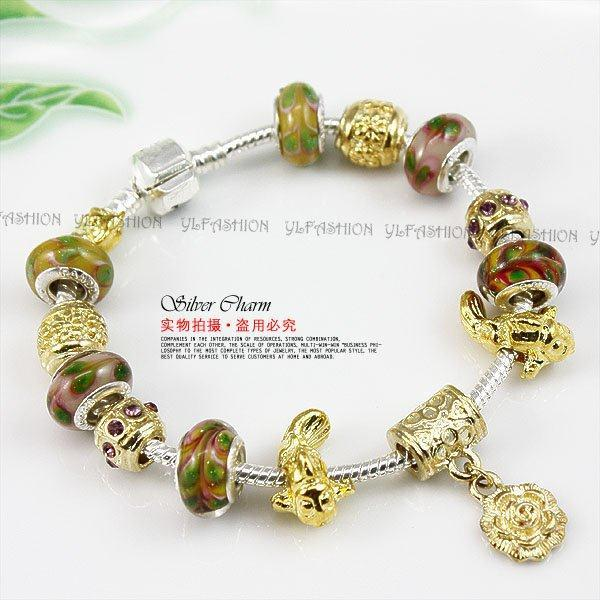 Free Shipping 2015 New Beads Charm Bracelet 18k Gold Flower Pendant Fashion DIY Bracelets XCH1183(China (Mainland))