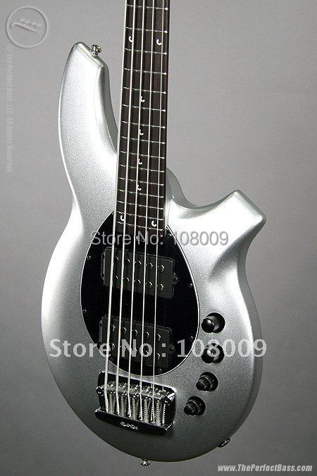 new arrival Music bass 5 Silver Black Pickguard music electric bass Battery amplifier circuit