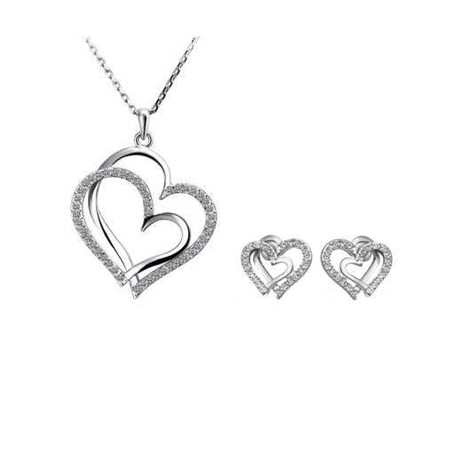 2015 New Fashion Jewelry Sets 18K plated Austrian crystal necklace double heart / earrings wedding jewelry KG283 - Jinghong store