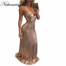 Buy 2017 Chrismas Even night Party Dress Sexy Women Gold Sequin Long Dresses Floor length Blackless Maxi Vestido De Festa Gold Black for $24.21 in AliExpress store