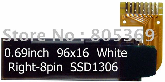 0.69inch 96x16 right-8pin white OLED