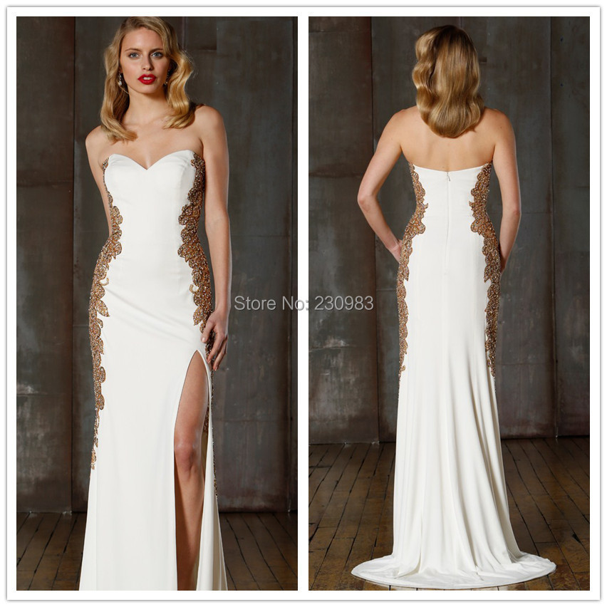 Dazzling Sweetheart Neckline Sleeveless Gold Beaded Mermaid White Prom Dresses 2015 Front Slit Cheap Party Gowns - Abby's Bridal Studio store
