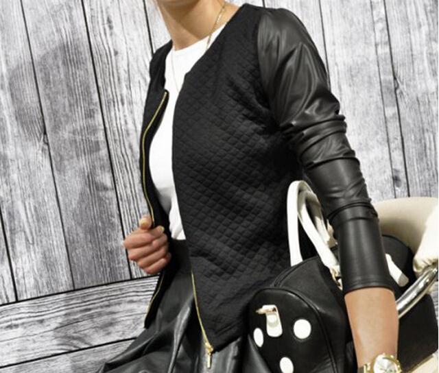 Women PU Leather Casual Zip Long Sleeve Chic Stylish Top Outwear Parka Coat Zipper Patchwork Baseball Sport Jacket LXZ020M XXL(China (Mainland))