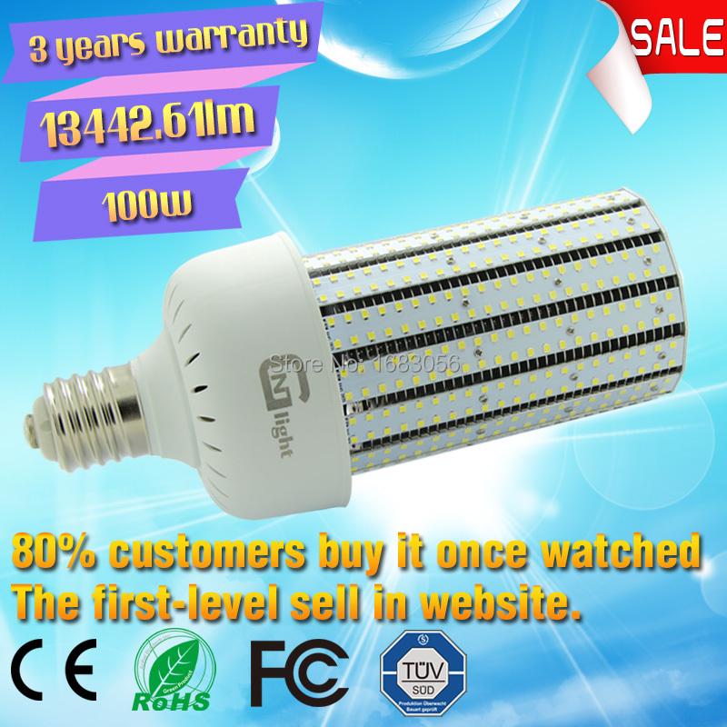 E40 base led light bulbs 100W 6500K corn lamp led street light retrofit 250W HID E39 mogul base in parking lot shoe box fixture(China (Mainland))